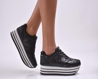 Дамски обувки  на платформа еко кожа/текстил черни KEAM-26875