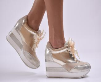 Дамски обувки  на платформа еко кожа/еко набук златисти XQTN-26876