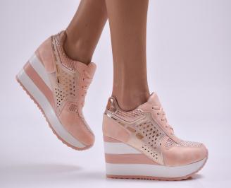 Дамски обувки  на платформа еко кожа/текстил розови DLNG-26879