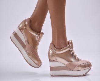 Дамски обувки  на платформа еко кожа/набук розови NGUB-26880