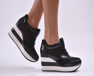 Дамски обувки  на платформа еко кожа/набук черни HILB-26881