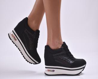 Дамски обувки  на платформа текстил черни CZPI-26882
