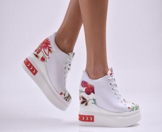 Дамски обувки  на платформа еко кожа бели HESZ-26888