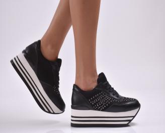 Дамски обувки  на платформа еко кожа черни CJNE-26890