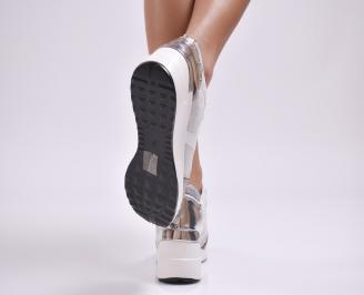 Дамски обувки  на платформа еко кожа сиви NZRH-26891