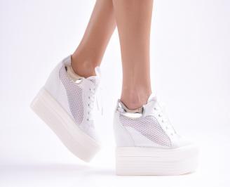 Дамски обувки на платформа текстил бели LMTB-26892