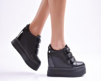 Дамски обувки на платформа еко кожа черни DNAJ-26893