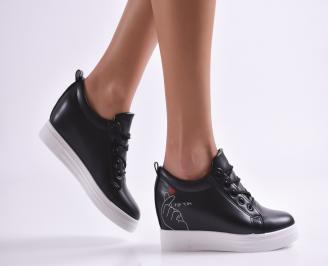 Дамски обувки на платформа еко кожа черни QZMQ-26894