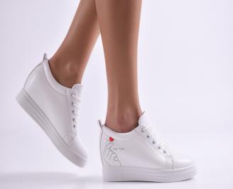 Дамски обувки на платформа еко кожа бели XXPL-26895