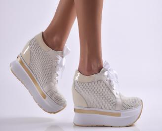 Дамски обувки на платформа естествена кожа бежови XQTZ-26907