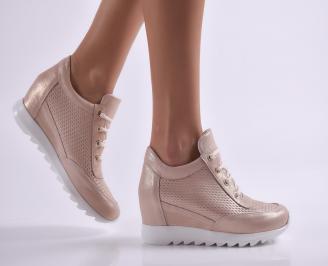 Дамски обувки на платформа естествена кожа пудра CTCV-26908