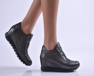Дамски обувки на платформа естествена кожа черни EYLH-26909