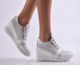Дамски обувки на платформа естествена кожа бели SEEW-26915