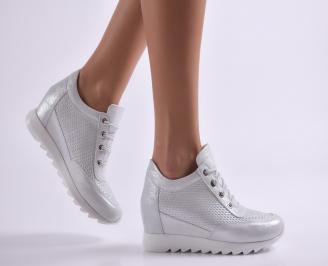 Дамски обувки на платформа естествена кожа сребристи YGKC-26917