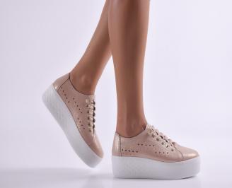 Дамски обувки на платформа естествена кожа пудра FZGU-26918