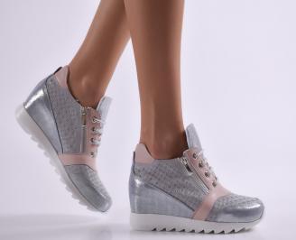 Дамски обувки на платформа естествена кожа сиви GXBK-26919