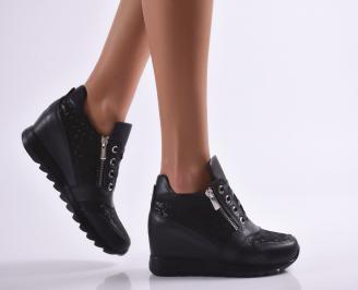 Дамски обувки на платформа естествена кожа черни QQOX-26920