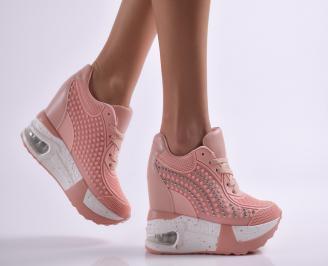 Дамски обувки на платформа еко кожа розови CSFU-26923