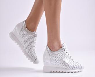 Дамски обувки на платформа естествена кожа бели KTNQ-26934