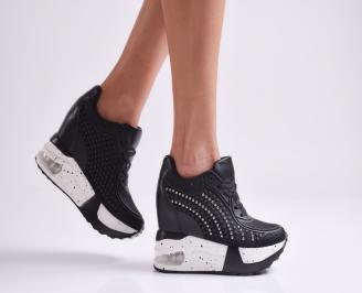 Дамски обувки на платформа еко кожа черни HQDV-26937