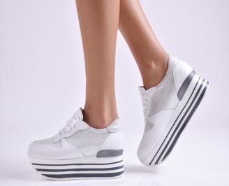 Дамски обувки  на платформа естествена  кожа бели UKSN-26953