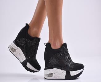 Дамски обувки на платформа текстил черни ACUJ-26977