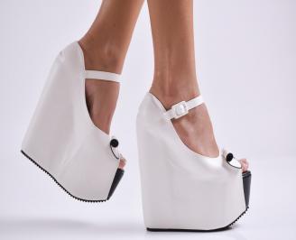 Дамски обувки на платформа еко кожа бели IVCT-26978