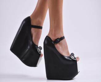 Дамски обувки на платформа еко кожа черни FAYF-26979
