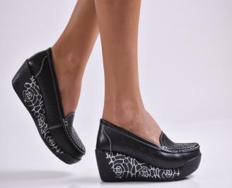 Дамски обувки на платформа естествена кожа черни OXDK-26981