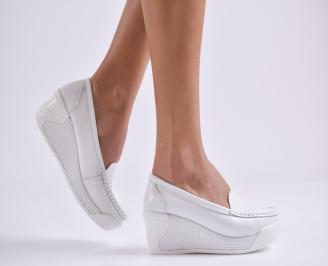Дамски обувки на платформа естествена кожа бели FYLF-26982