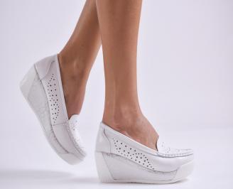 Дамски обувки на платформа естествена кожа бели KXWG-26983