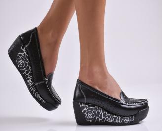 Дамски обувки на платформа естествена кожа черни KINX-26985