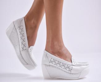 Дамски обувки на платформа естествена кожа бели DHKL-26986
