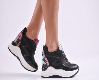 Дамски обувки на платформа еко кожа черни NYBT-27004