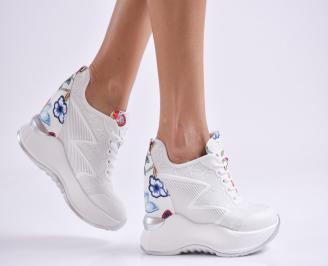 Дамски обувки на платформа еко кожа бели XGTH-27005