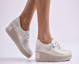 Дамски обувки на платформа естествена кожа бежови WUMY-27006