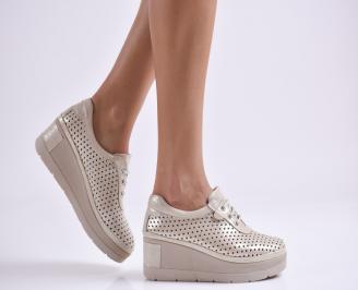 Дамски обувки на платформа естествена кожа златисти GLHN-27007