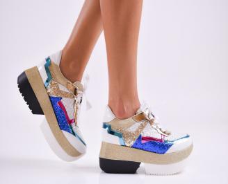 Дамски обувки на платформа еко кожа шарени BHHO-27515