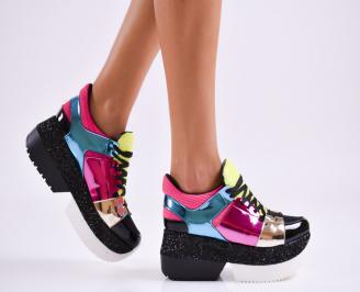 Дамски обувки на платформа еко кожа шарени VMZK-27521