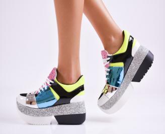 Дамски обувки на платформа еко кожа шарени UQPA-27522