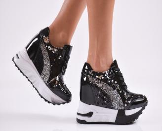 Дамски обувки на платформа еко кожа/лак черни OQVY-27796