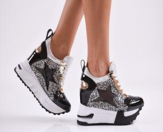 Дамски обувки на платформа еко кожа/лак черни JFCD-27798