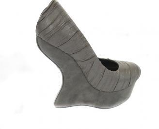 Дамски обувки на платформа еко велур сиви DWIX-10564