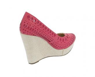 Дамски обувки на платформа  еко кожа розови DPGG-10567