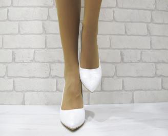Дамски обувки на ток бели еко кожа/дантела SCXA-22990