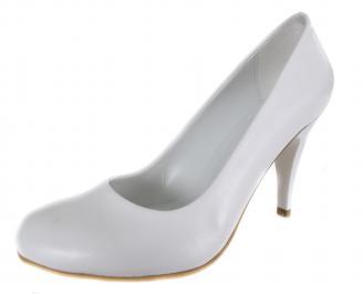Дамски обувки на ток бели еко кожа FNAL-18992