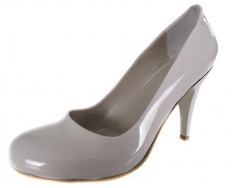 Дамски обувки на ток бежови еко кожа/лак RTJX-19014
