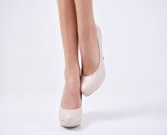 Дамски обувки на ток еко кожа бежови DMZT-23045