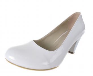 Дамски обувки на ток еко кожа/лак бели CTBP-17536