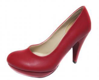 Дамски обувки на ток еко кожа червени HACW-19610